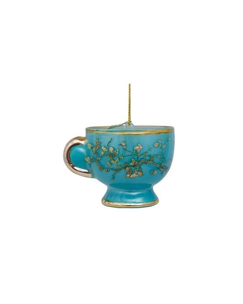 Ornament glass Van Gogh blossom blue teacup